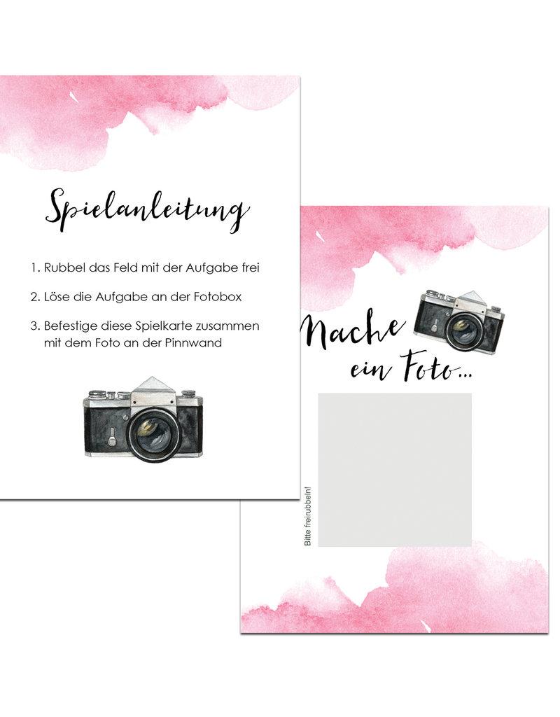 """50 Fotoboxaufgaben zum Rubbeln """"Aquarell Hochzeit rosa!"""" Rubbelkarten"""