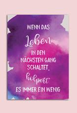 """Postkarte Spruch """"Wenn das Leben in den nächsten Gang schaltet"""""""