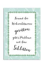 """Postkarte Weihnachten """"Kommt der Weihnachtsmann geritten"""""""