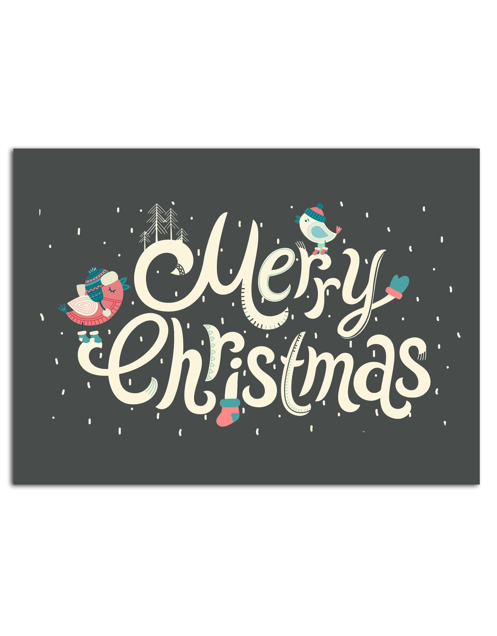"""Postkarte """"Vögel im Schnee schwarz"""", Weihnachtskarte"""