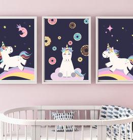 Kinderzimmerbilder 3er Set Einhorn