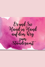 """Glückwunschkarte Hochzeit """"Hand in Hand"""" Aquarell"""