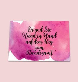 """Glückwunschkarte Hochzeit  """"Hand in Hand"""""""
