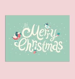 """Postkarte """"Vögel im Schnee türkis"""", Weihnachtskarte"""