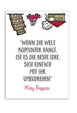 """Postkarte Zitat """"Wenn die Welt kopfunter hängt"""""""