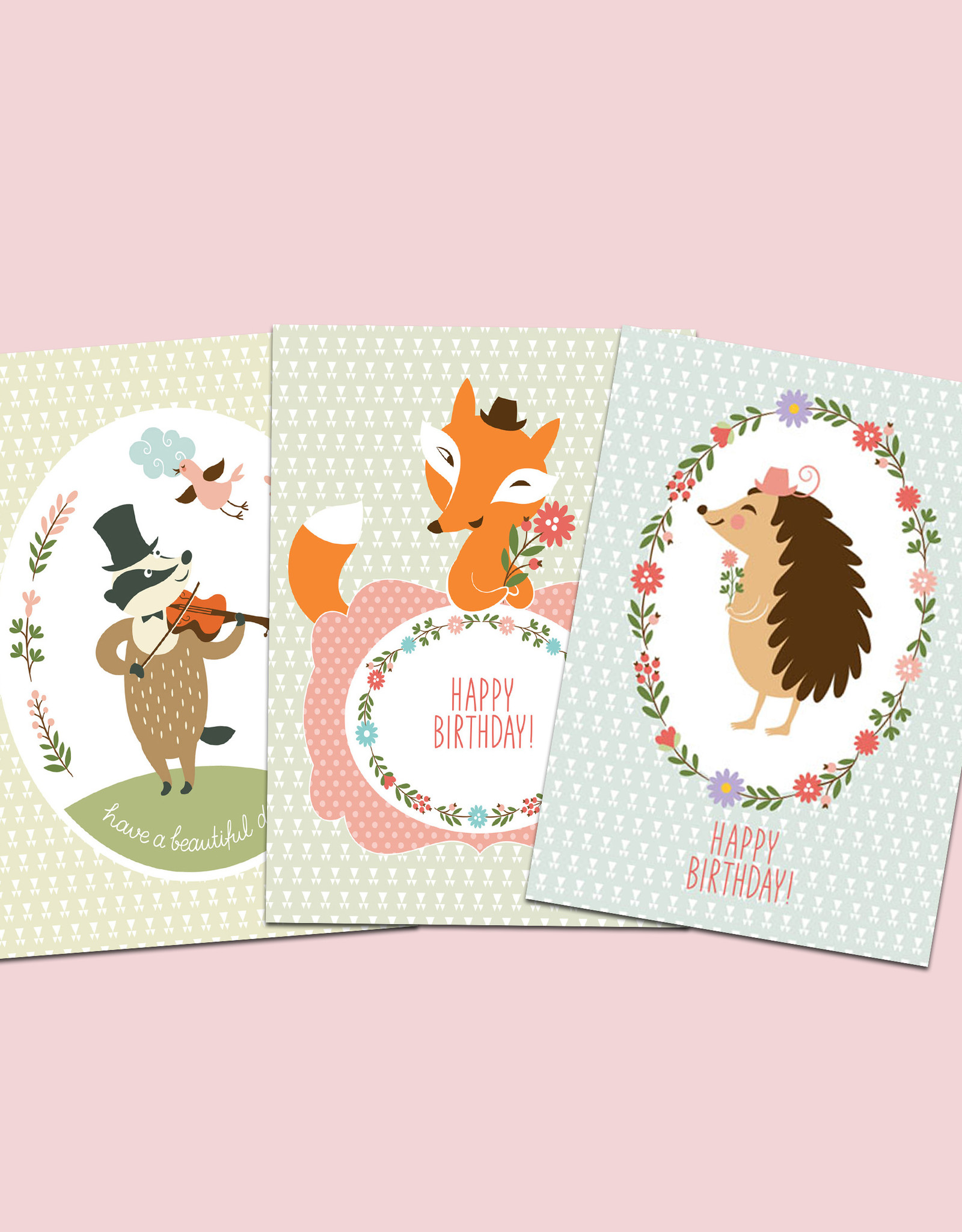 "Geburtstagskarten 3er Set Fuchs, Dachs, Igel"" Postkarten-Set"