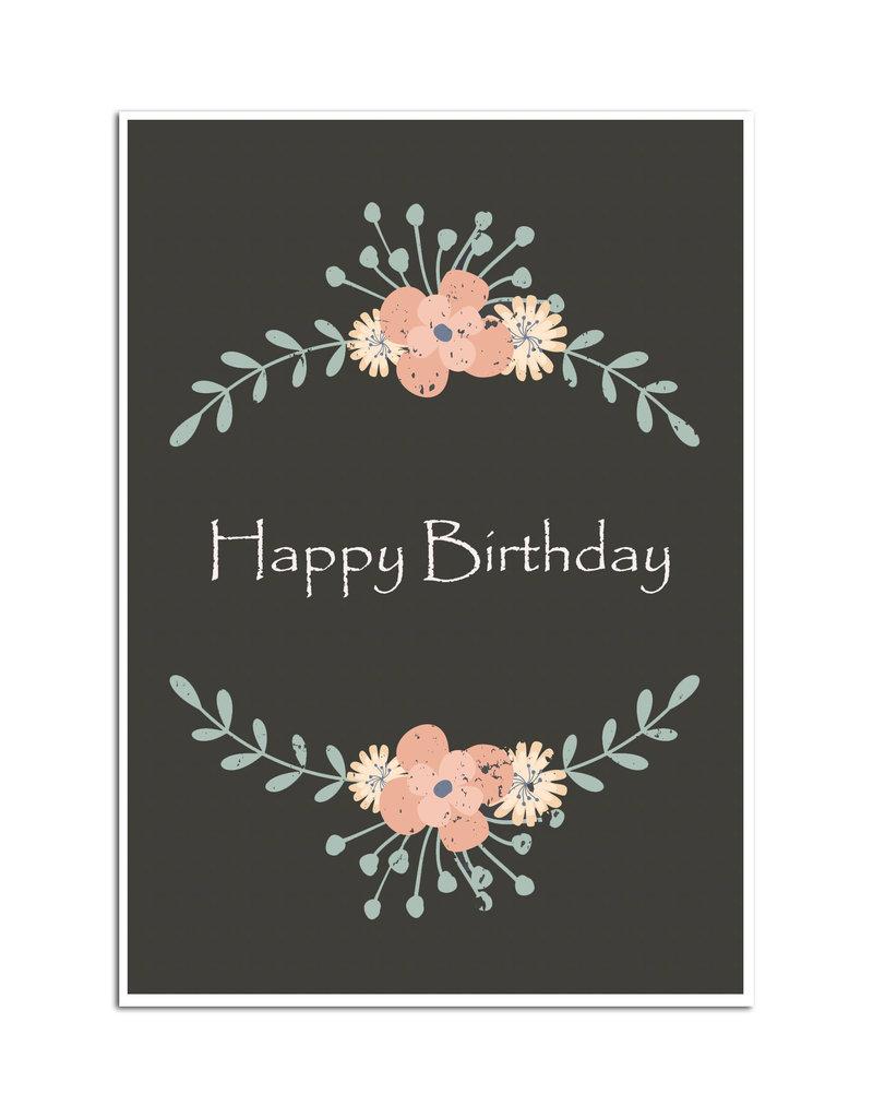 """Geburtstagskarte """"vintige dunkel"""" Postkarte Geburtstag"""