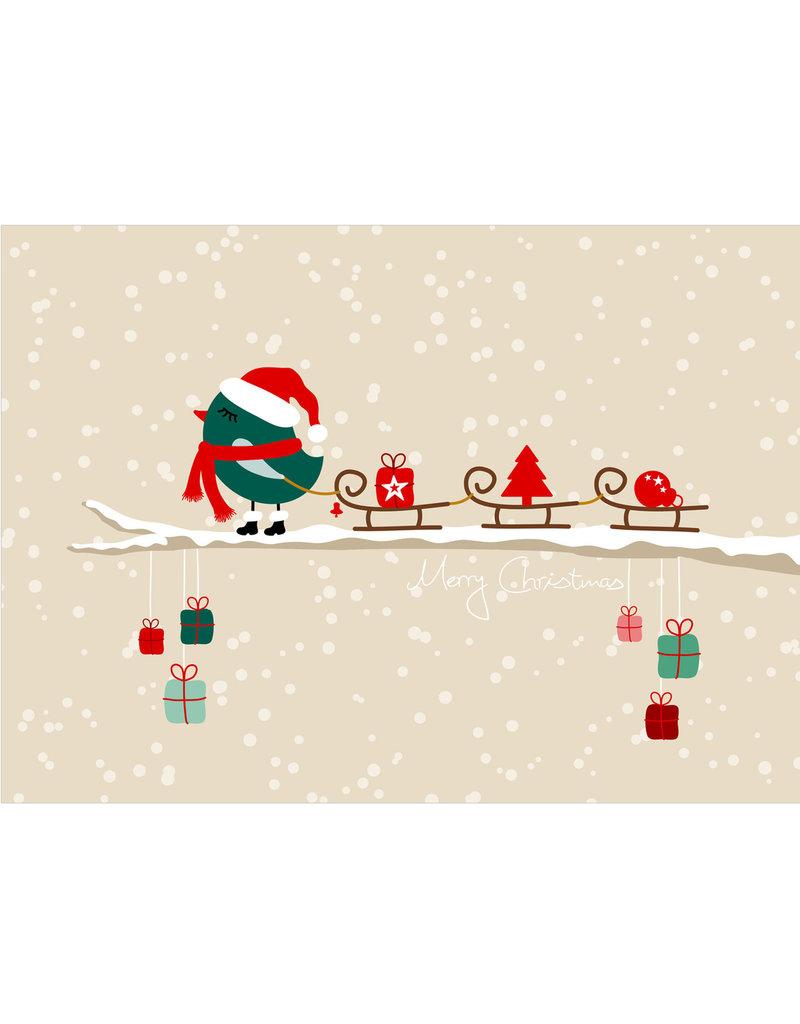 """Postkarte Weihnachten """"Vögel Schlitten"""" Weihnachtskarte"""