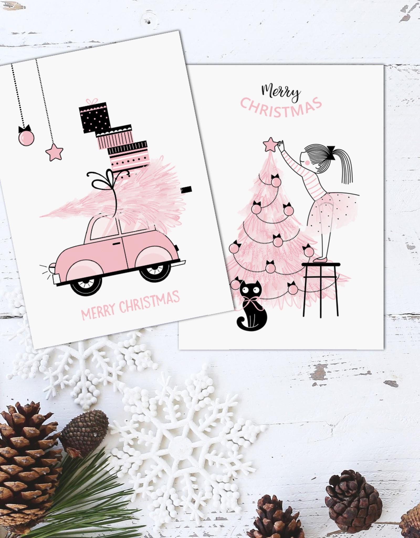 Weihnachtskarten Set 3-teilig ROSA, Weihnachtskarten Postkarten Set Weihnachten Weihnachhtskarten Set Grußkarten Weihnachten Grußkarte