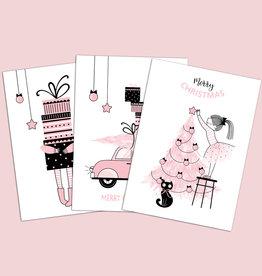 Weihnachtskarten Set 3-teilig ROSA