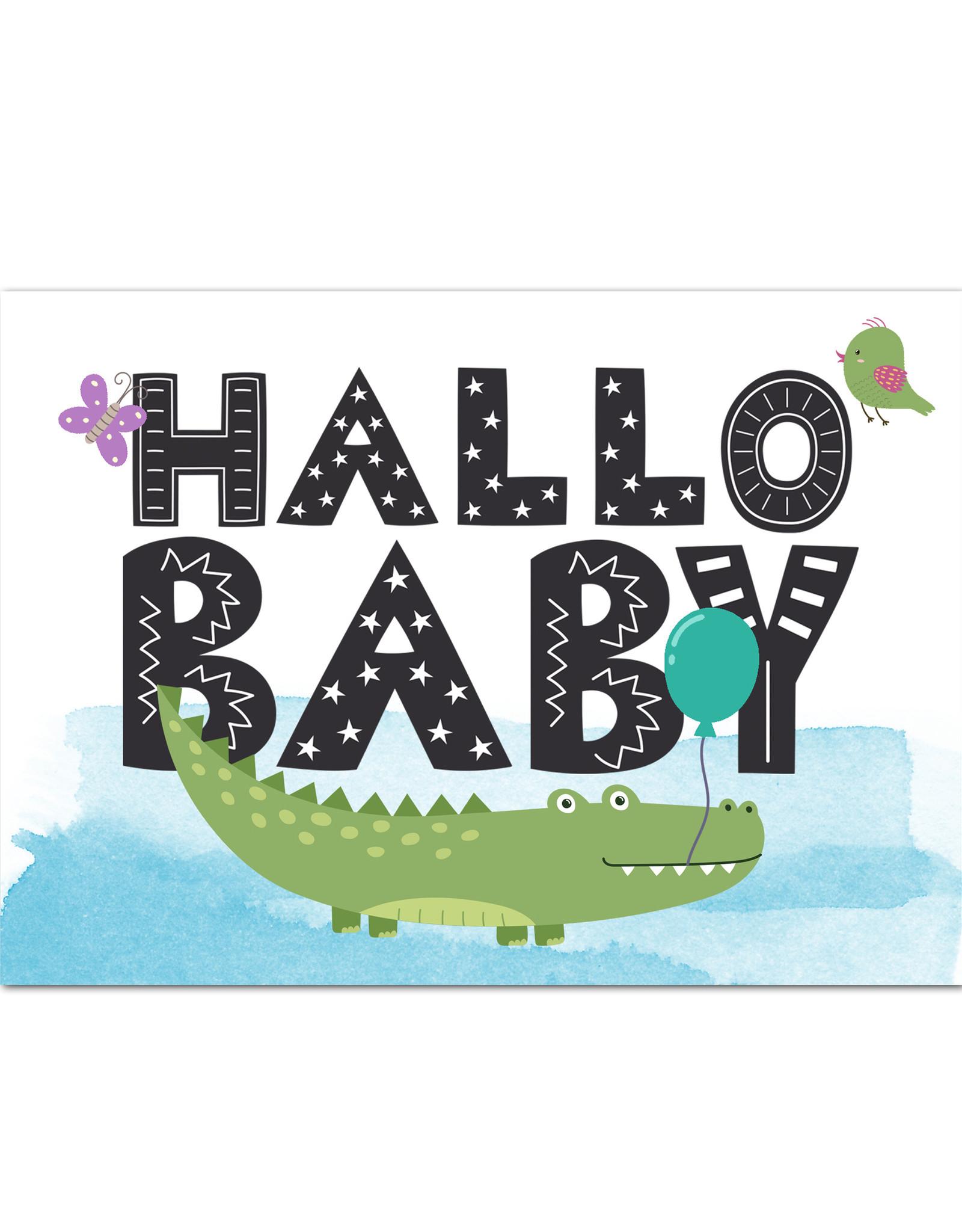 "Postkarte Baby ""Hallo Baby Jungen"", Baby Geschenk, Geschenk zur Geburt, Geschenk Geburt, Karte Geburt, Pullerparty, Postkarten Geburt"