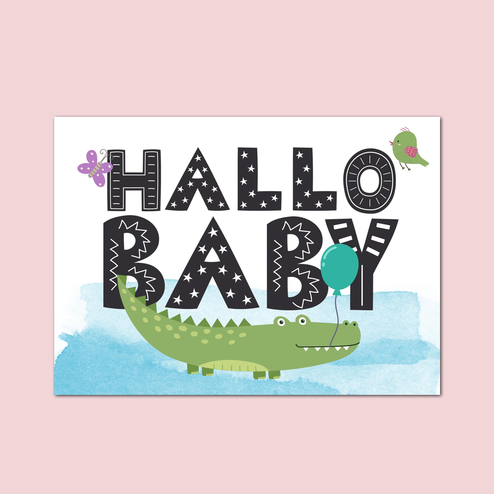 Postkarte Baby Hallo Baby Jungen, Baby Geschenk