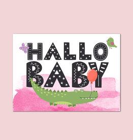 "Postkarte Baby ""Hallo Baby Mädchen"""