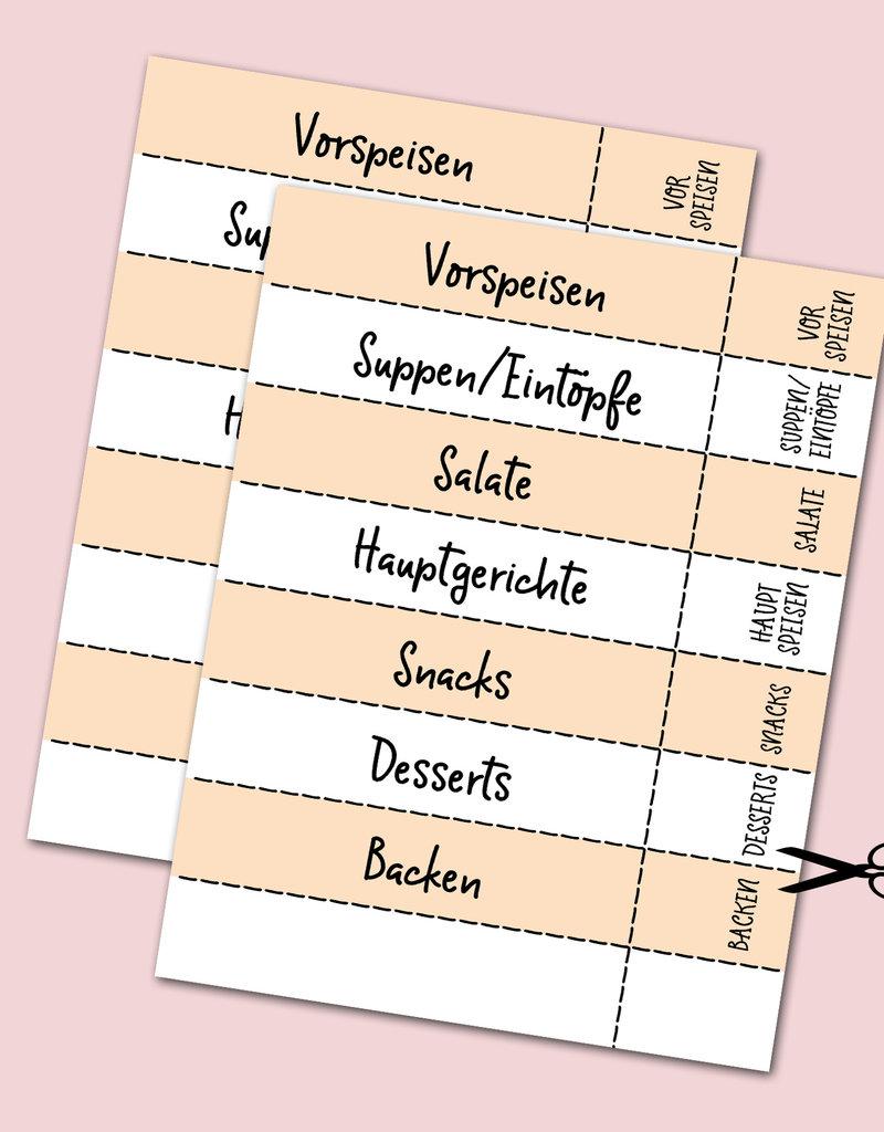 30 Rezeptkarten zum selbst Beschriften DIN A5 inklusive 8 Registerkarten für ein DIY Kochbuch