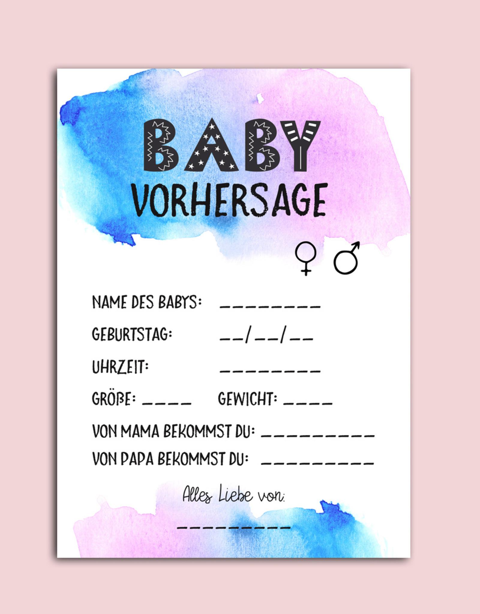 10 x Baby Vorhersage Karten Babyparty Tipp Spiel Pullerparty Spiel, Baby Party Spiele, Babyparty Deko, Babyparty Ideen