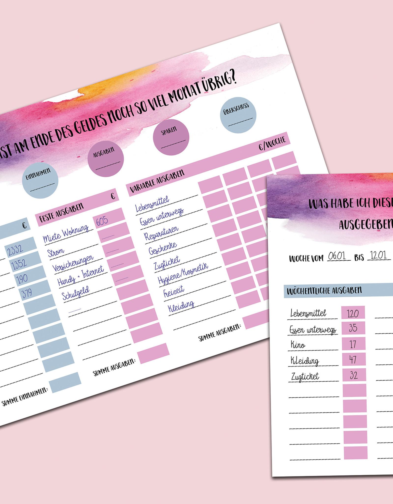 Planer Set Finanzen, Übersicht über die monatlichen Ausgaben DIN A4 + DIN A5 Organisation Haushaltsplan Haushaltsbuch