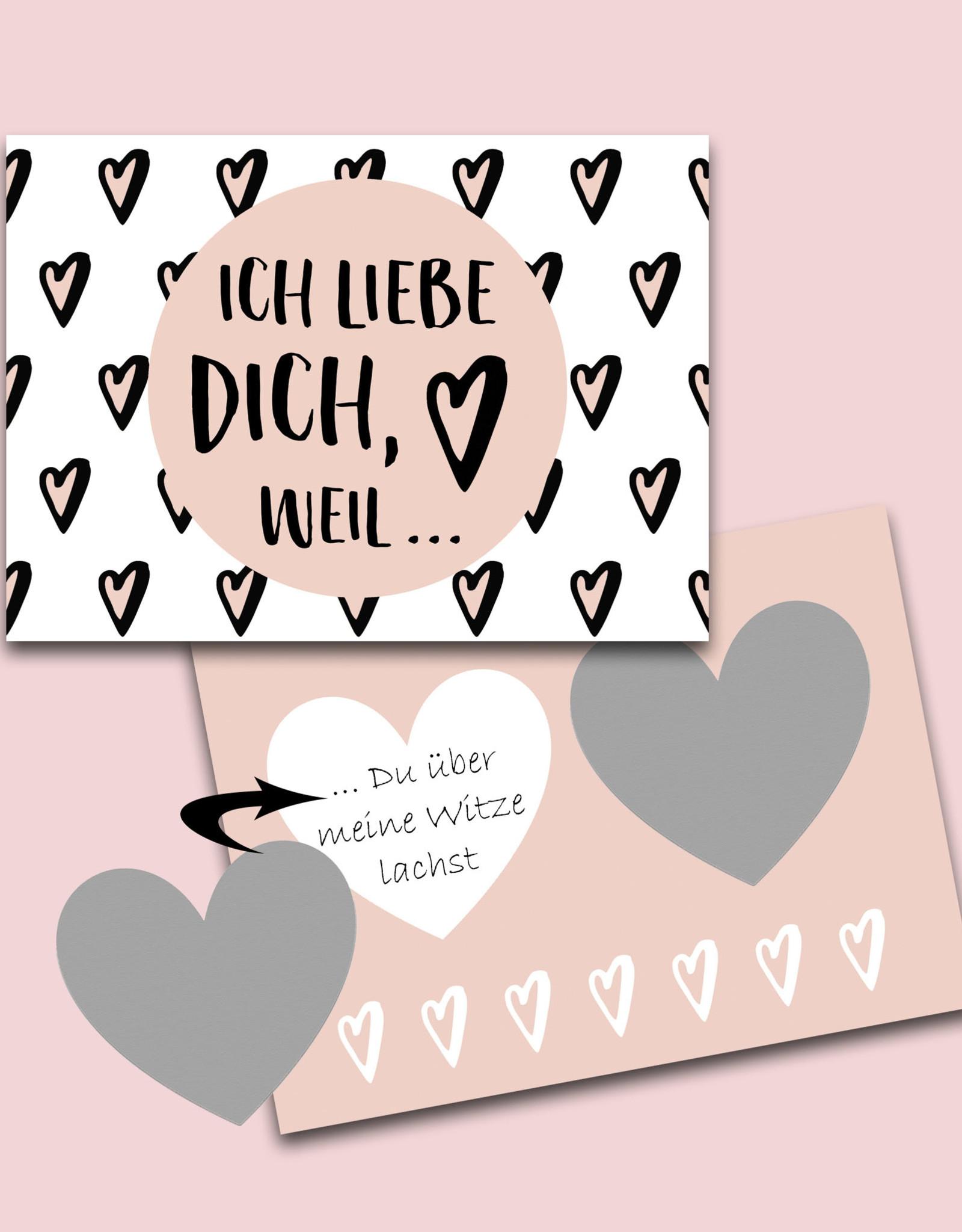 Valentinskarte mit Umschlag Ich liebe Dich, Rubbelkarte zum Valentinstag Postkarte Liebe Ich liebe Dich Karte zum Rubbeln