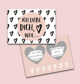 """Valentinskarte zum Rubbeln """"Ich liebe Dich, weil..."""""""