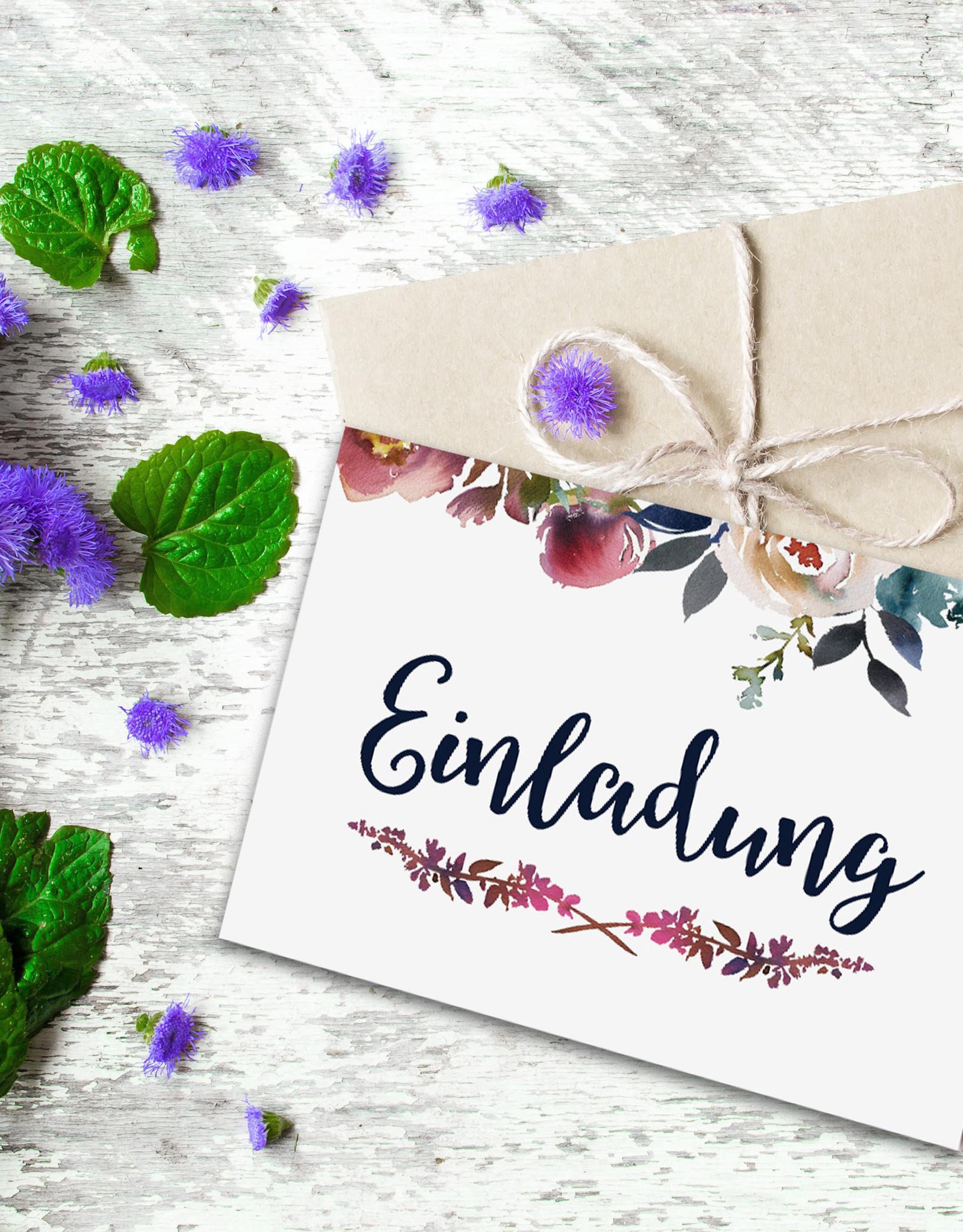Einladungskarten Hochzeit BOHO Klappkarte inkl. Umschlag