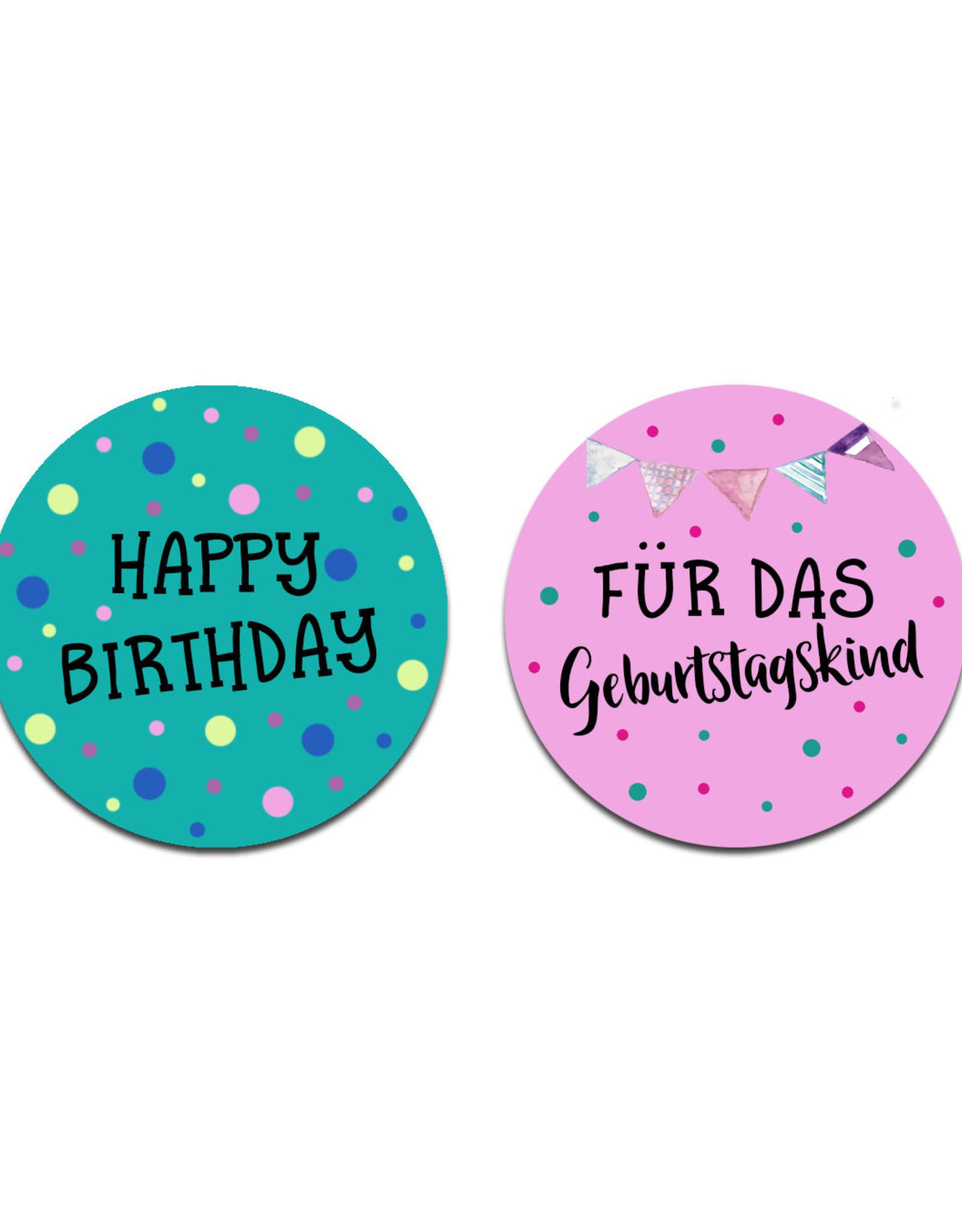 """Aufkleber Geburtstag Set """"Happy Birthday"""" und """"Für das Geburtstagskind"""" 50 Sticker Geburtstag, Geschenkaufkleber"""
