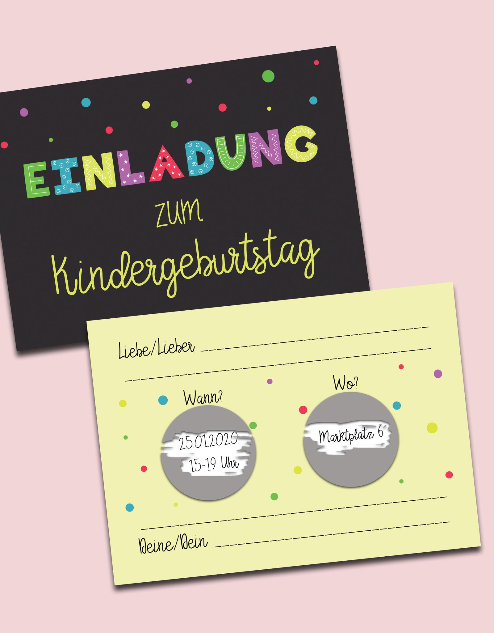 Einladungskarte Kindergeburtstag zum Rubbeln