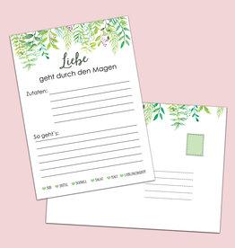 """50 Rezeptkarten """"Grüne Hochzeit"""" DIN A6"""