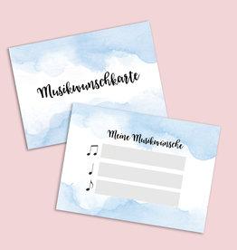 """50 Musikwunschkarten """"Aquarell BLAU"""""""