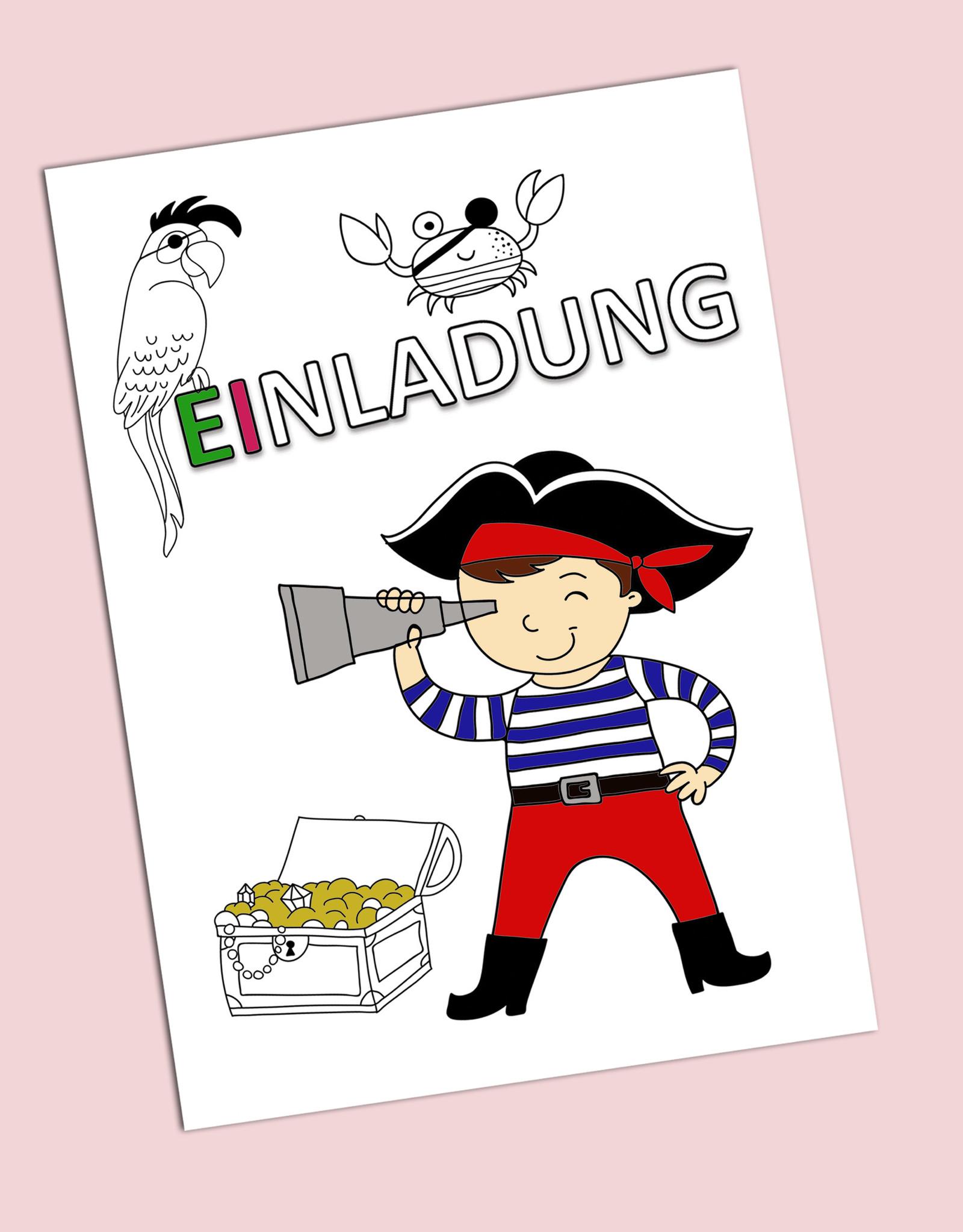 """Einladungskarte zum Ausmalen Kindergeburtstag  """"Pirat"""""""