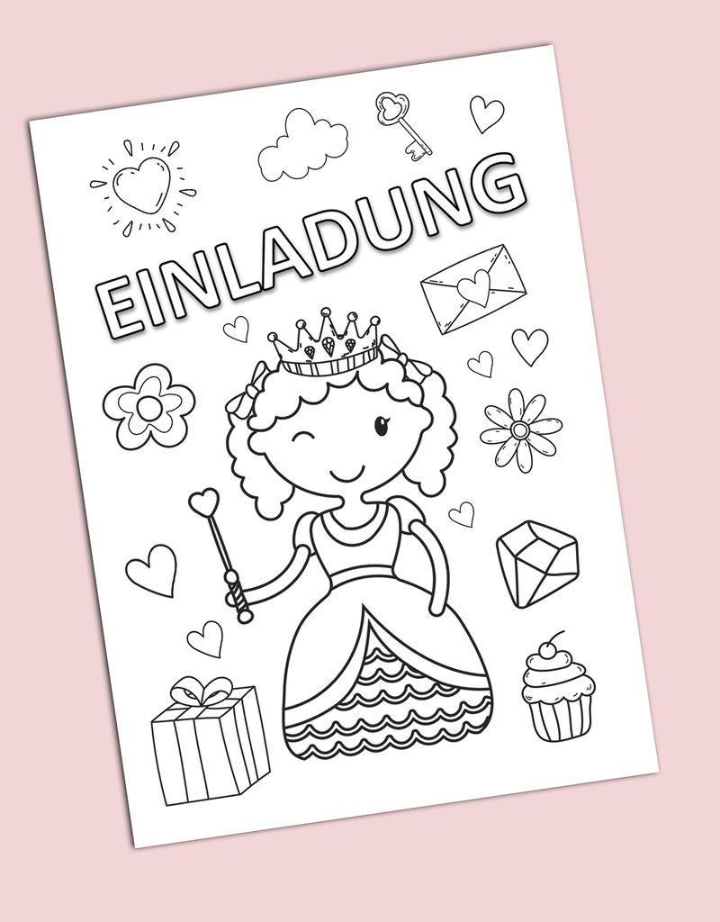 """Einladungskarte zum Ausmalen Kindergeburtstag  """"Prinzessin"""""""