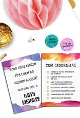 5 Geburtstagskarten und 20 Sticker