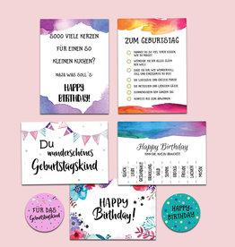 Geburtstagskarten Set mit Stickern AQUARELL