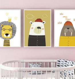 Kinderzimmerbilder 3er Set Walross und Co