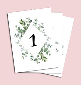 Tischnummern Hochzeit Eucalyptus 1-10