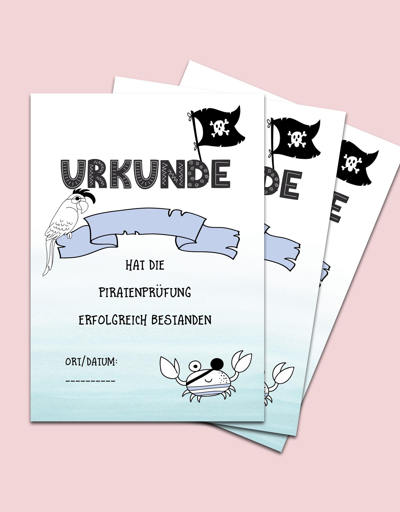 10 Urkunden Schatzsuche, Piraten Urkunden DIN A4