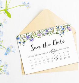 """Save the date Karten """"Blaue Hochzeit Kalender"""" 50 Stück"""