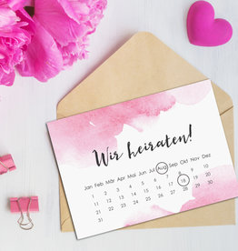 """Save the date Karten """"Aquarell Hochzeit Kalender"""" 50 Stück"""