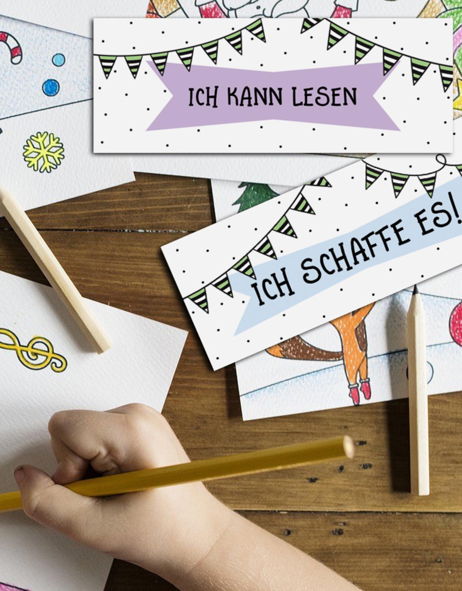 Lesezeichen Glaubenssätze für Kinder 4er Set WIMPEL Wende-Lesezeichen Affirmationen