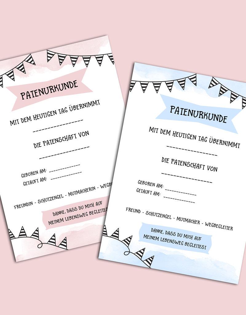 Patenurkunde Patenbrief 2er Set für Patenonkel und Patentante DIN A4 Taufe