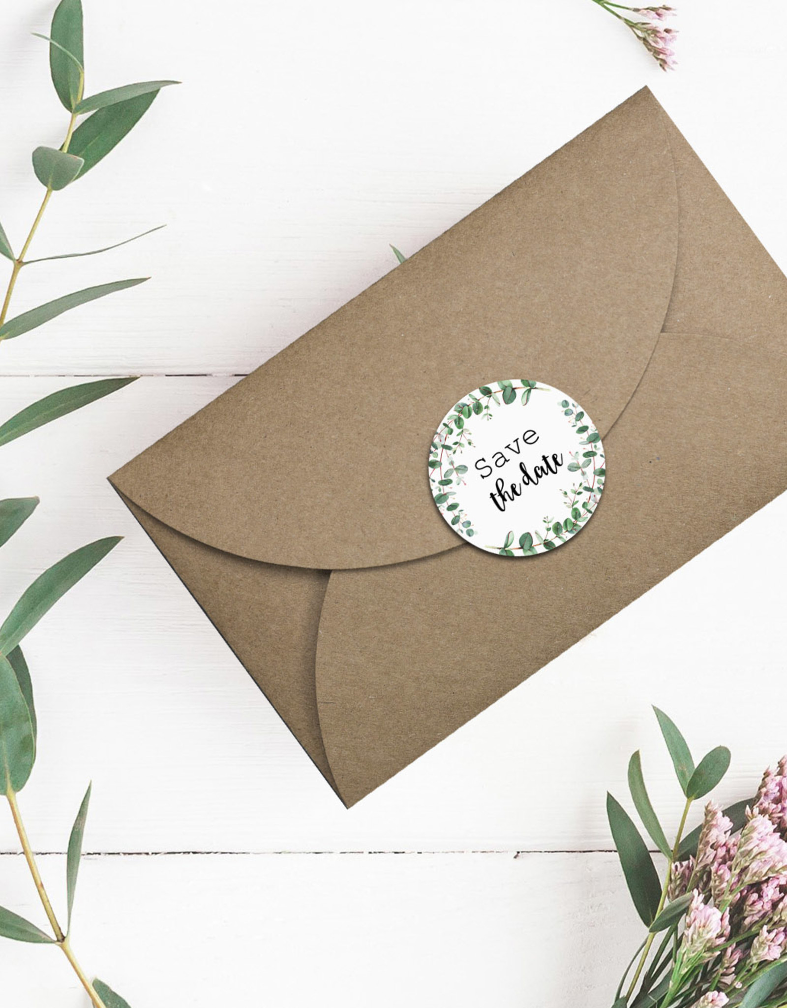 50 Sticker Save the Date EUCALYPTUS Hochzeit Sticker Aufkleber Save the date