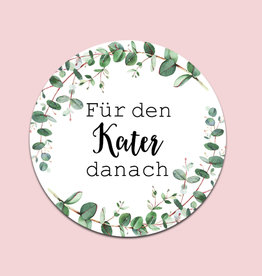 """50 Sticker """"Kür den Kater danach"""" EUCALYPTUS Hochzeit Gastgeschenk Aufkleber Hangover Kit"""