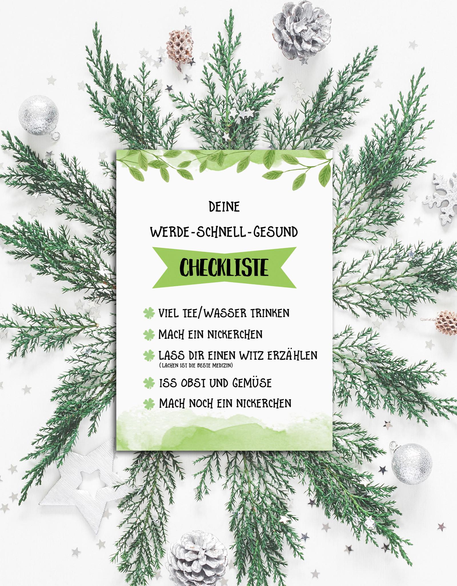 Postkarte Gute Besserung Checkliste zum Ankreuzen Genesungskarte