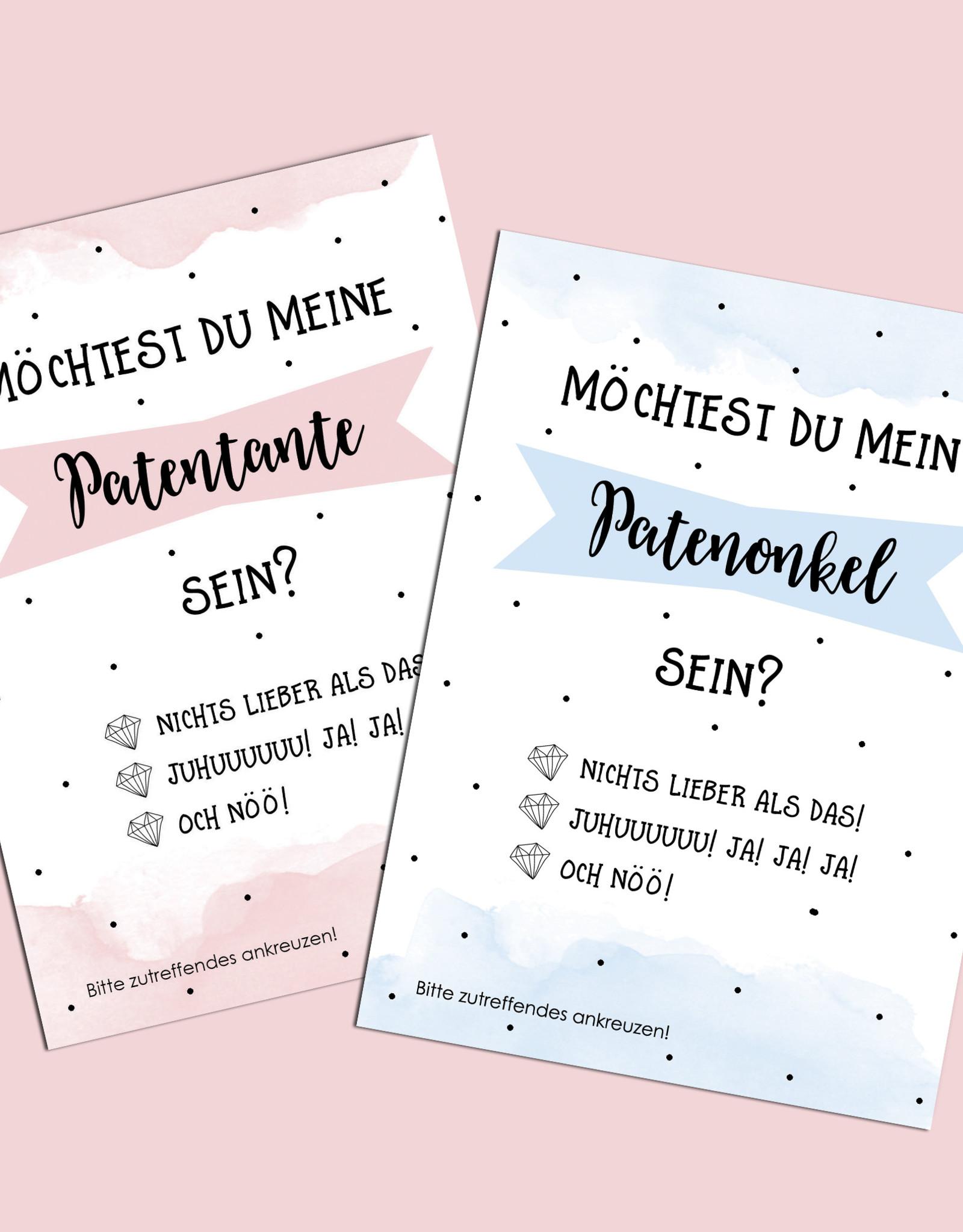 Postkarten Pate fragen 2er Set Patenonkel fragen Patentante fragen