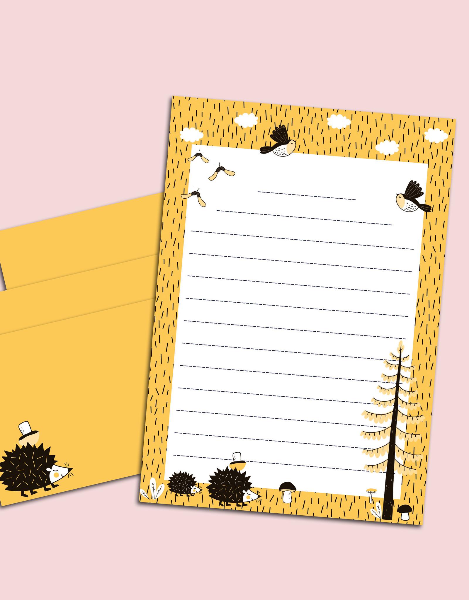 Briefpapier Set Igel gelb DIN A5 Briefpapier Kinder inkl. Umschläge