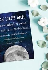 """Postkarte Valentinstag """"Ich liebe Dich bis zum Mond"""""""