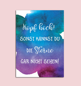 "Postkarte Spruch ""Kopf hoch"" Motivationskarte Mutmacher Karte"
