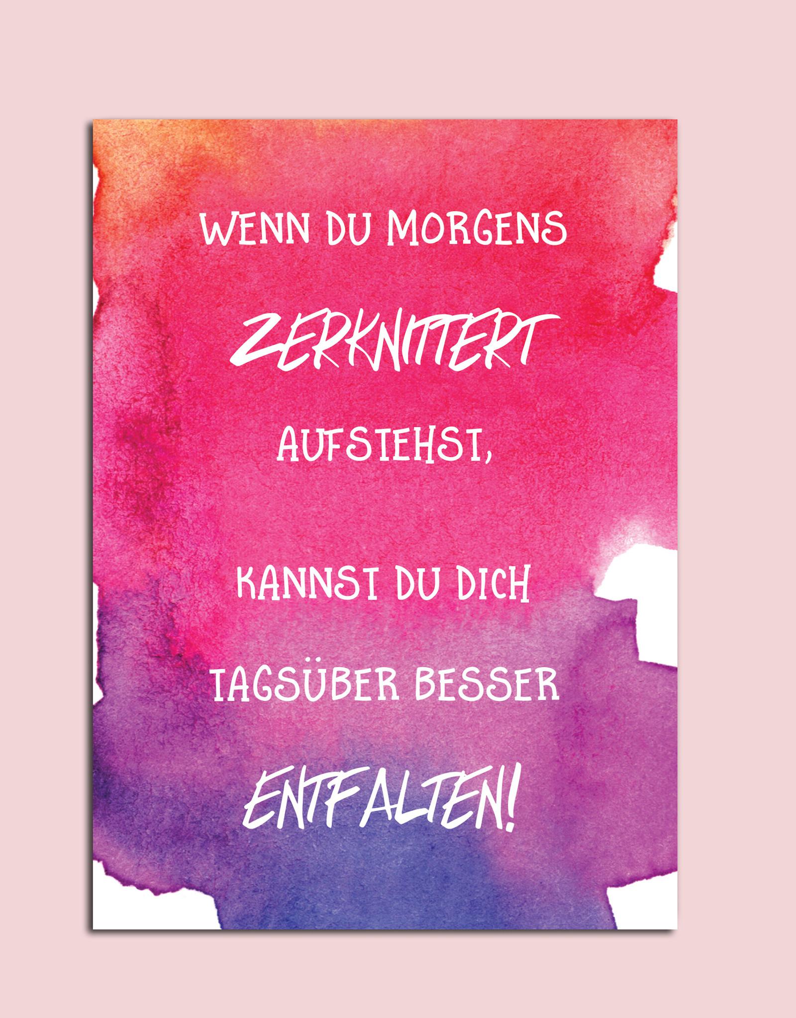 """Postkarte Spruch Postkarte """"Wenn du morgenws zerknittert aufstehst"""" Motivationskarte Mutmacher Karte"""