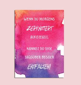 """Postkarte Spruch Postkarte """"Wenn du morgens zerknittert aufstehst"""" Motivationskarte Mutmacher Karte"""