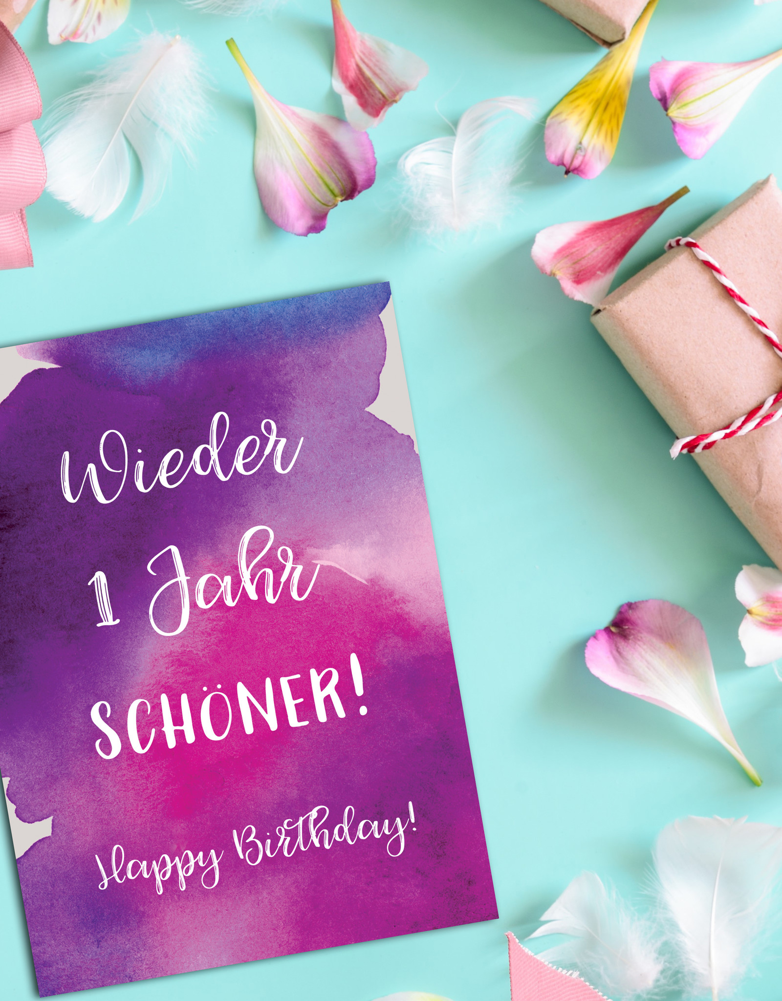 """Postkarte Geburtstag """"Wieder ein Jahr schöner"""" Glückwunschkarte Geburtstag"""