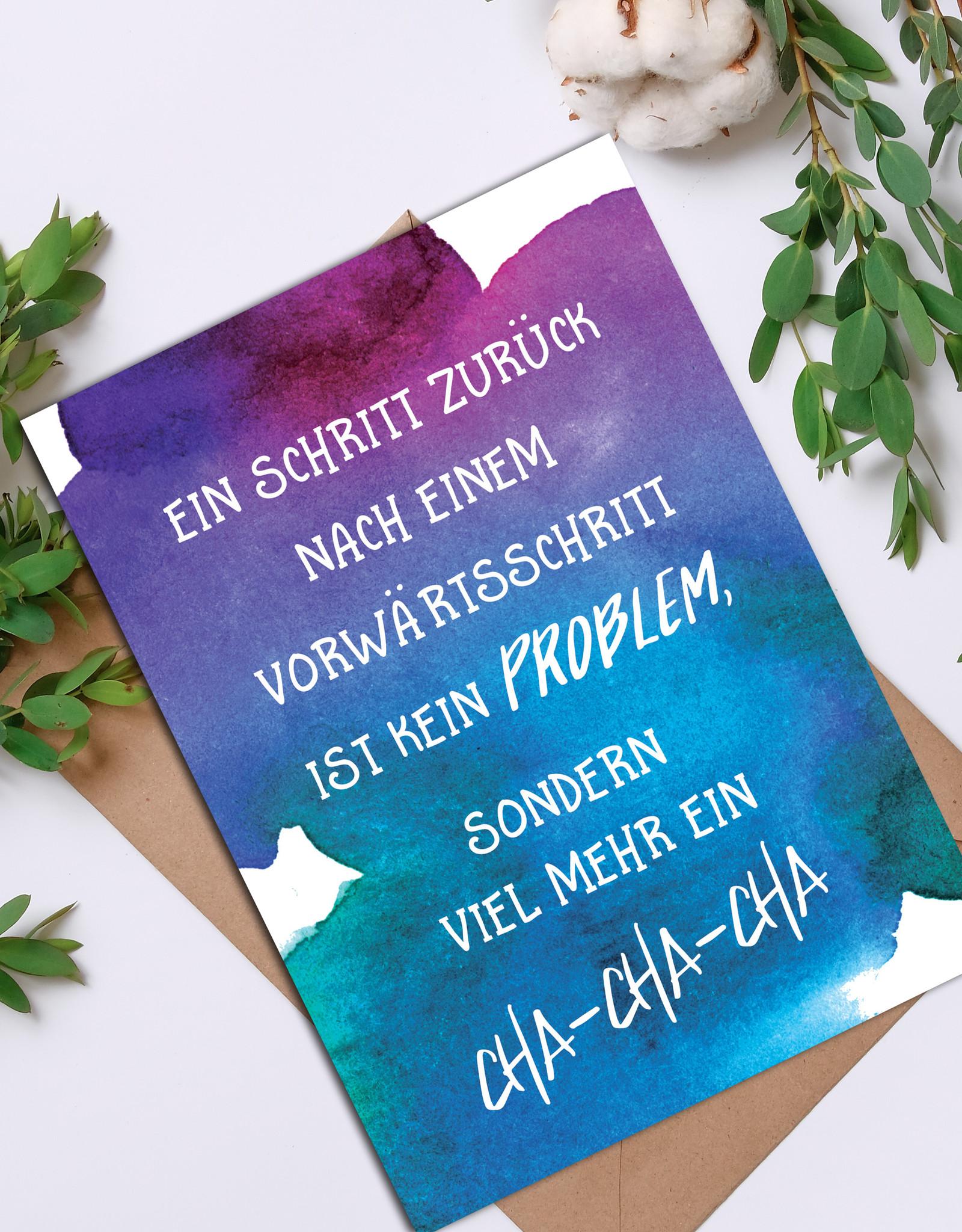 """Postkarte Spruch Postkarte """"Cha-Cha-Cha"""" Motivationskarte Mutmacher Karte"""