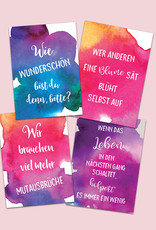 10er Set Postkarten Sprüche Aquarell, Postkarten Motivation